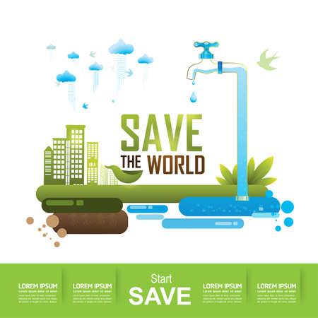 juntos: Ecología concepto guardar el vector del mundo