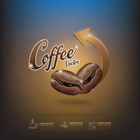 grano de cafe: Plantilla del grano de café del vector