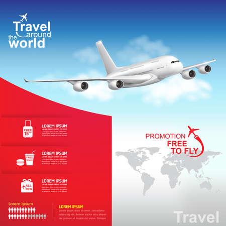 航空機: 世界のベクトルの概念のまわりの旅行します。  イラスト・ベクター素材