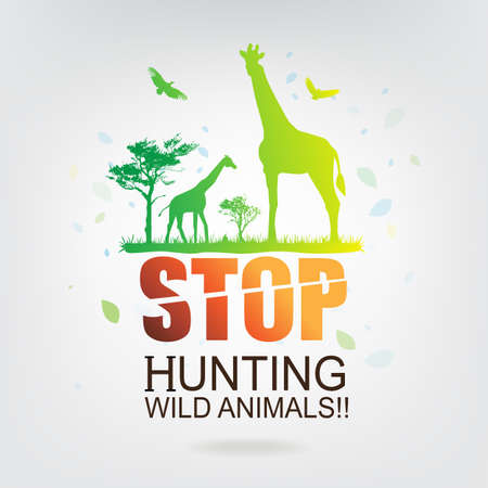 recycle symbol vector: Save The World Concept Stop Hunting Animals Illustration