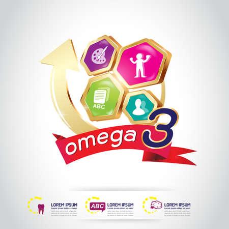nutrition icon: Kids Omega 3 Vitamin Concept
