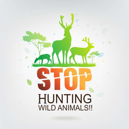 hunting: Save The World Concept Stop Hunting Animals Illustration