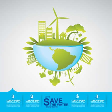 clean energy: Save Water Vector Concept