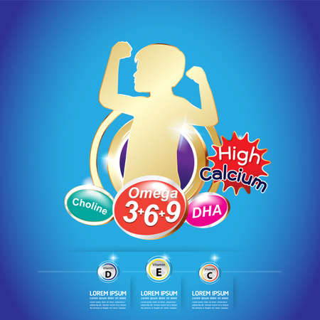 vitamin: Kids Omega 3 Vitamin Concept
