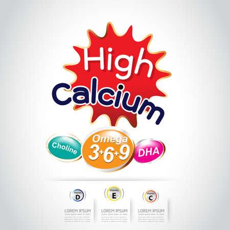 Kids Calcium Omega 3 Vitamin Concept
