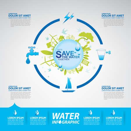 ahorrar agua: Save Water Concept Vector Vectores