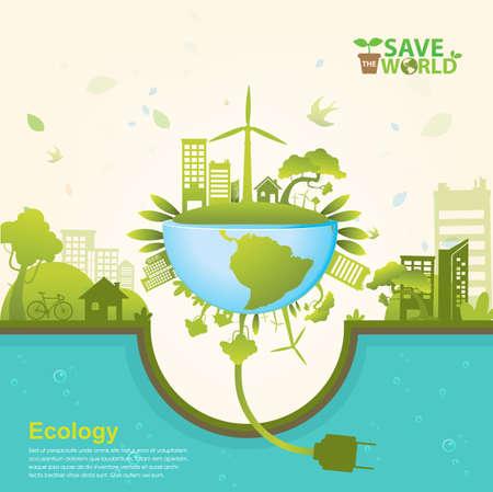 medio ambiente: Concepto de la ecología excepto vector del mundo