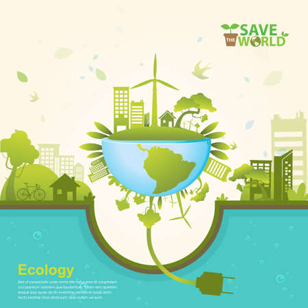 ecological environment: Ecology concept save world vector