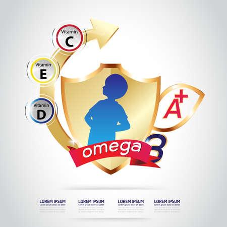 Kids Omega 3 Vitamin Calcium Vector