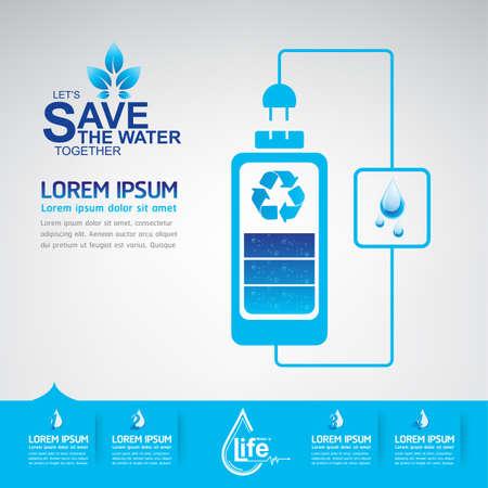 ahorrar agua: Ahorre El Vector Agua