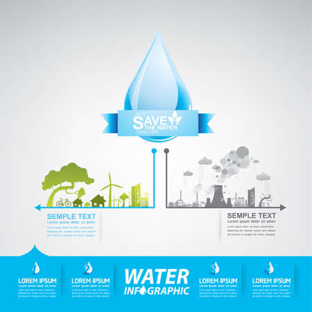 fresh water: Save Water Vector Concept Saving