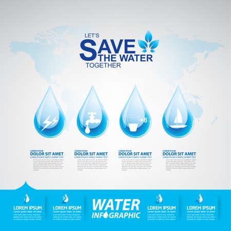 ecological environment: Save Water Vector Concept Saving