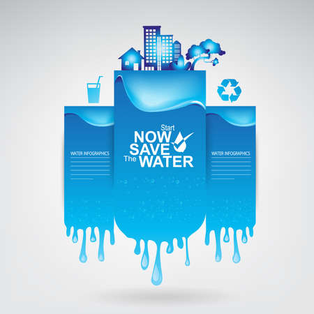 clean background: Save The Water Vector