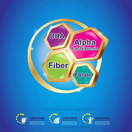 witaminy: Opakowanie Logo witaminy dla dzieci wektor