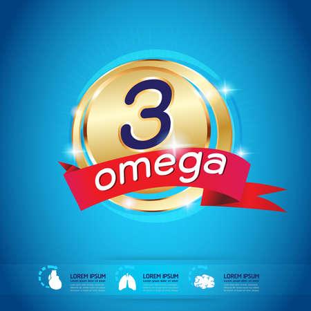 Kids Omega and vitamin Logo packaging Vector Illustration