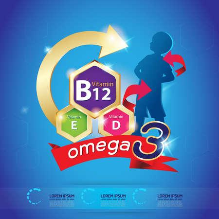 vitamin: Kids Omega and vitamin Logo packaging Vector Illustration