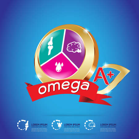 Kids Omega and vitamin Logo packaging Vector 일러스트