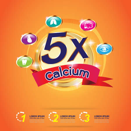 vitamin c: Kids Calcium and vitamin Omega Logo packaging Vector Illustration