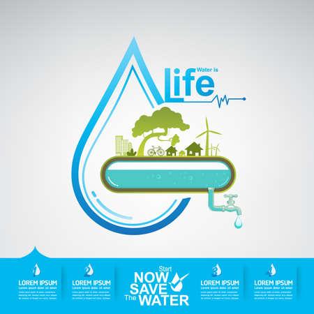 Ahorre El Vector Agua