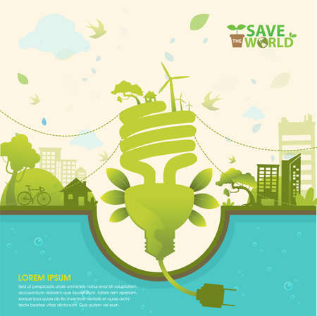 energy conservation: Save the World and Go Green Concept