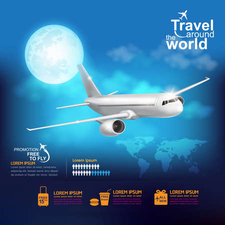 plane vector: Airline Vector Concept Travel around the World