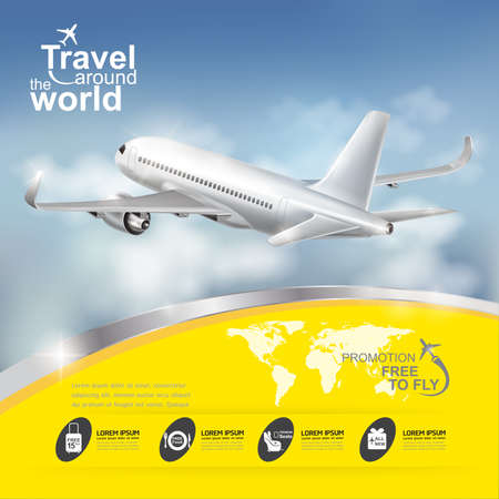 around the world: Airline Vector Concept Travel around the World