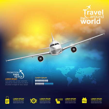 旅行: 世界中の航空会社ベクトル概念旅行