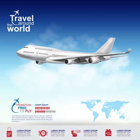 world travel: Airline Vector Concept Travel around the World