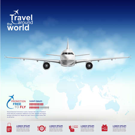 negocios internacionales: Aerolínea Vector Concepto Viaje alrededor del mundo
