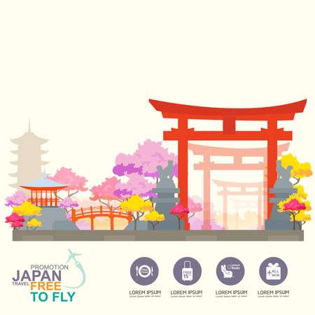日本: 世界中の目的地の概念旅行を旅行します。