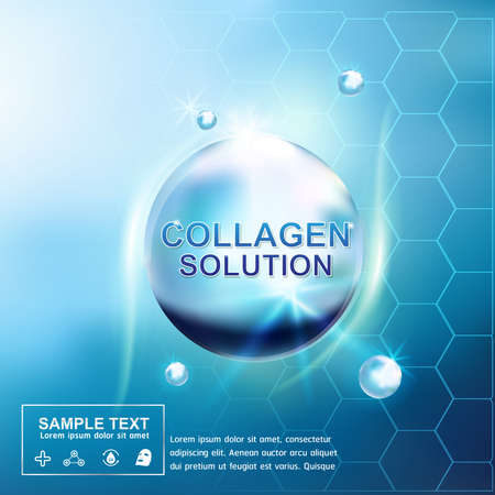 skin structure: Collagen and Serum Skin Care Background Concept Cosmetic for Skin. Illustration