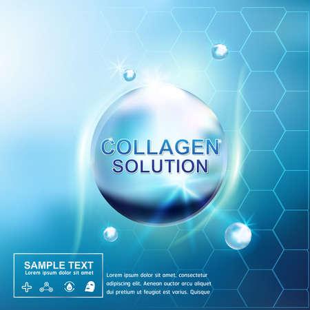 piel: El colágeno y Suero Antecedentes Cuidado de la piel concepto cosmético para la piel. Vectores