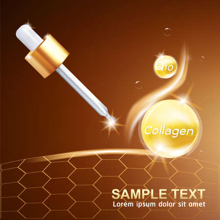 Collagen and Serum Skin Care Background Concept Cosmetic for Skin. 일러스트