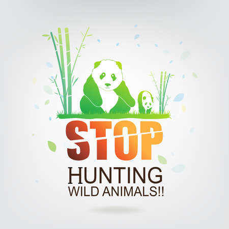 animals in the wild: save the world stop hunting wild animals Illustration