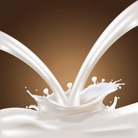 lactose: Milk, Yogurt Splashing Vector Concept