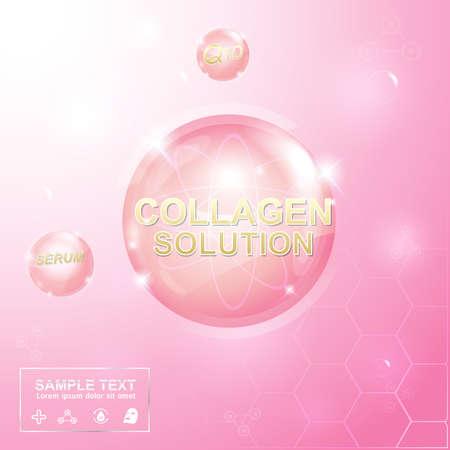 Kolagen i Serum Tło Koncepcja Kosmetyki do skóry Ilustracje wektorowe