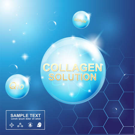 collagen: Collagen and Serum Background Concept Cosmetic for Skin