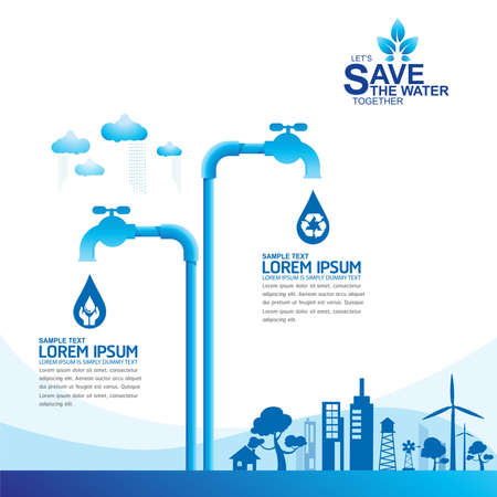 clean off: Save Water Vector Concept Ecology Illustration