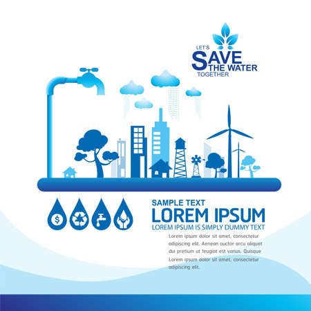 Ecología Save Water Concept Vector
