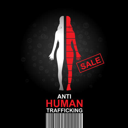 adults sex: Stop Human Trafficking Vector Concept Human Sale