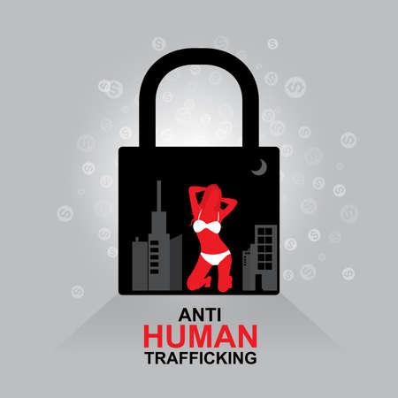 sex man: Stop Human Trafficking Vector Concept Human Sale