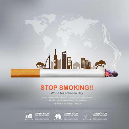Werelddag zonder tabak Vector Concept Stoppen met roken