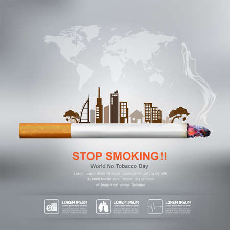 sick day: World No Tobacco Day Vector Concept Stop Smoking Illustration