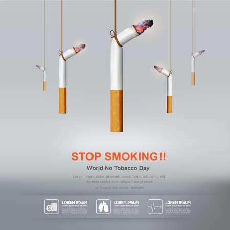 world: Journée mondiale sans tabac Vector Concept Arrêter de fumer