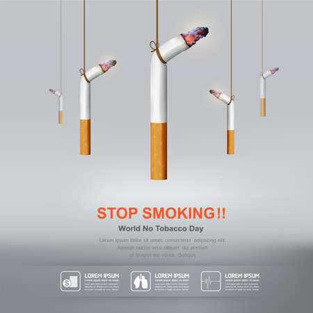 no smoking: World No Tobacco Day Vector Concept Stop Smoking Illustration
