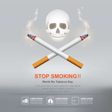 humo: D�a Mundial Sin Tabaco Vector Concepto Dejar de fumar Vectores