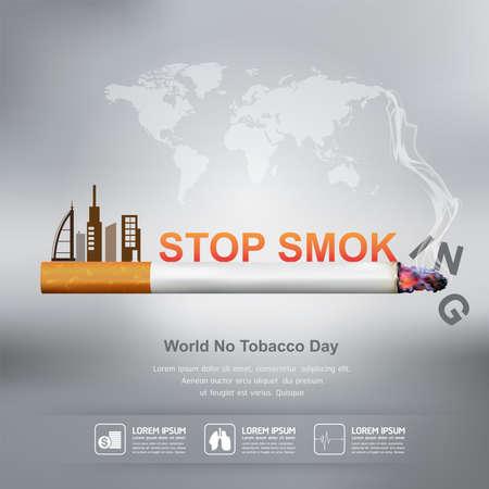 Día Mundial Sin Tabaco Vector Concepto Dejar de fumar Vectores