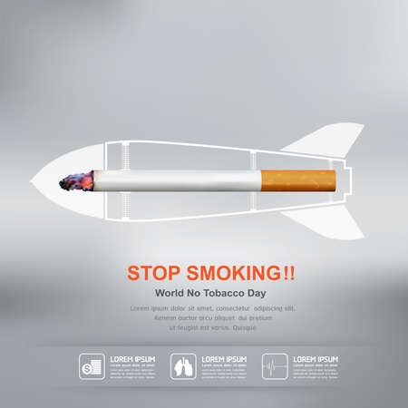 inhalation: World No Tobacco Day Vector Concept Stop Smoking Illustration