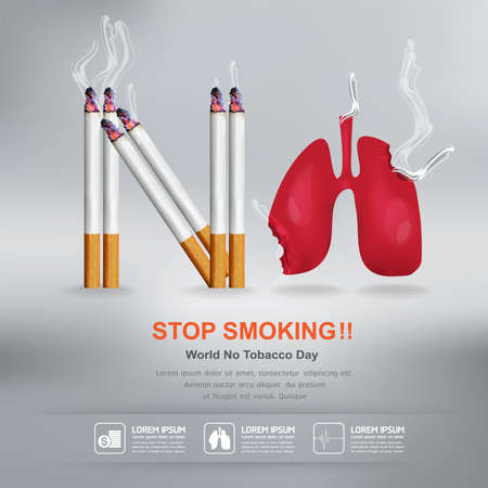World No Tobacco Day Vector Concept Stop Smoking Çizim