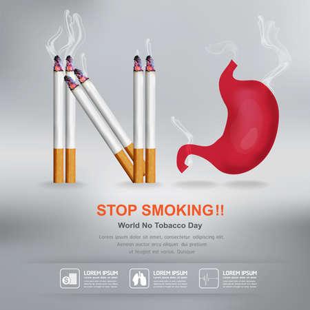 inhalation: World No Tobacco Day Vector Concept Stop Smoking Illustration